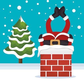 Gelukkig vrolijk kerstmiskarakter vector illustratieontwerp