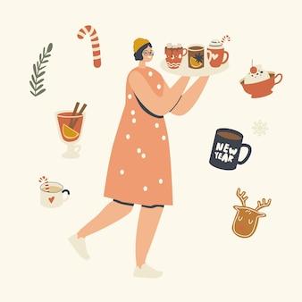 Gelukkig vrouwelijk personage draagt een dienblad met warme drank om van de kerstvakantie te genieten