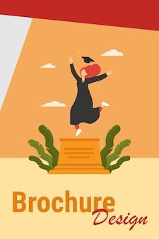 Gelukkig vrouwelijke student afstuderen vieren. studie, diploma, pet platte vectorillustratie. onderwijs- en kennisconcept voor banner, websiteontwerp of bestemmingswebpagina