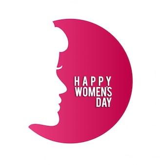 Gelukkig vrouwen dag met vrouwen gezicht in rode cirkel