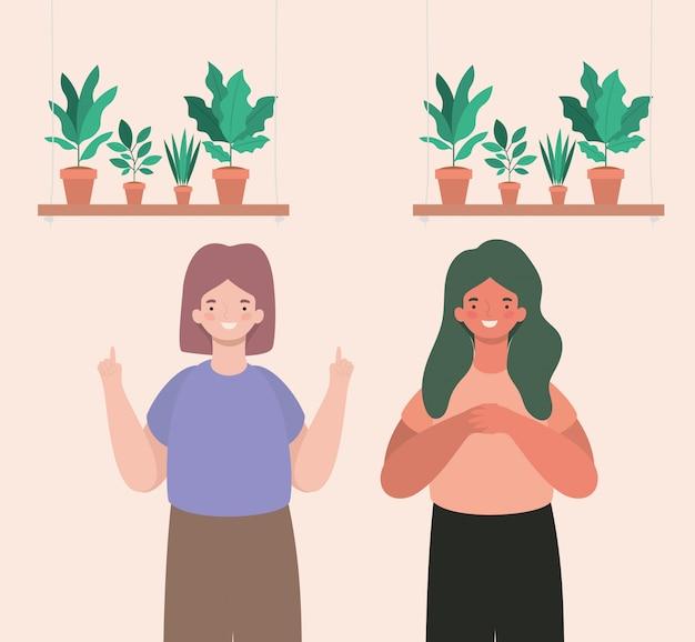 Gelukkig vrouwen tekenfilms met planten in potten