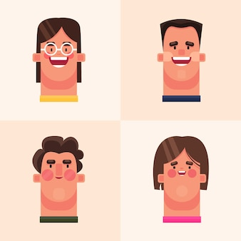 Gelukkig vrouwengezicht in vlakke stijl en mensenemoties