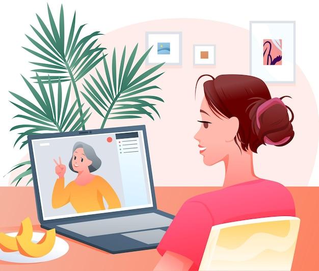 Gelukkig vrouwenkarakter videocall chatconferentie maken met moeder, familie videogesprek