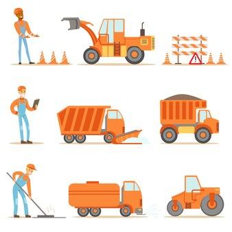 Gelukkig wegenbouw en reparatie werknemers in uniforme en zware vrachtwagens op bouwplaats set cartoon illustraties