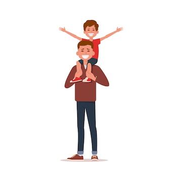 Gelukkig weinig jongen die handen uitrekt terwijl zijn vader die hem op schouders draagt.