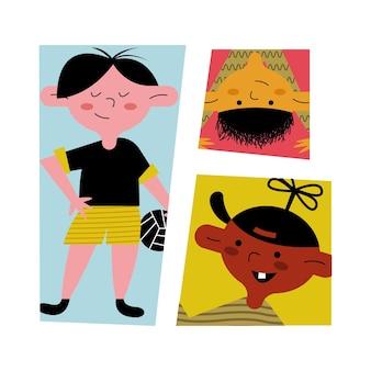 Gelukkig weinig jongens kinderen avatars tekens illustratie