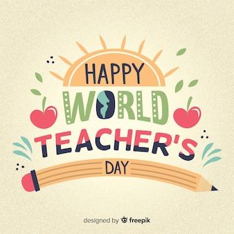 Gelukkig wereld leraren dag belettering