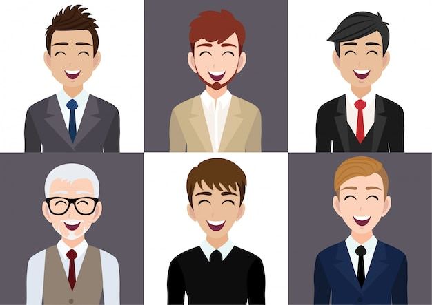 Gelukkig werkplek met lachende mannen stripfiguur in kantoorkleding