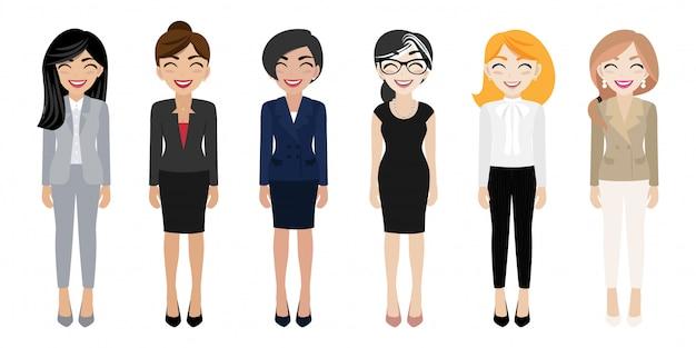 Gelukkig werkplek met lachende vrouwen stripfiguur in kantoorkleding