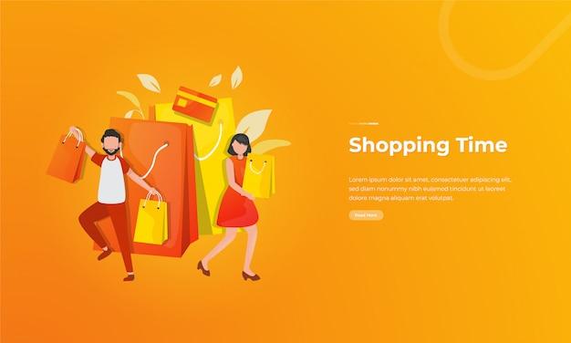 Gelukkig winkelen illustratie met mensen met boodschappentassen
