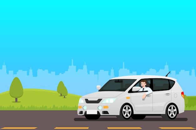 Gelukkig zakenman besturen van een nieuwe auto om te werken.