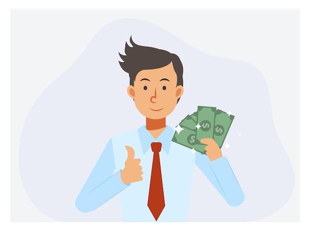 Gelukkig zakenman contant geld dollar en duim tegen te houden.