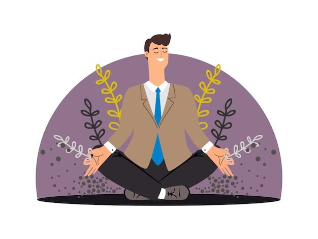 Gelukkig zakenman. meditatie concept geïsoleerd