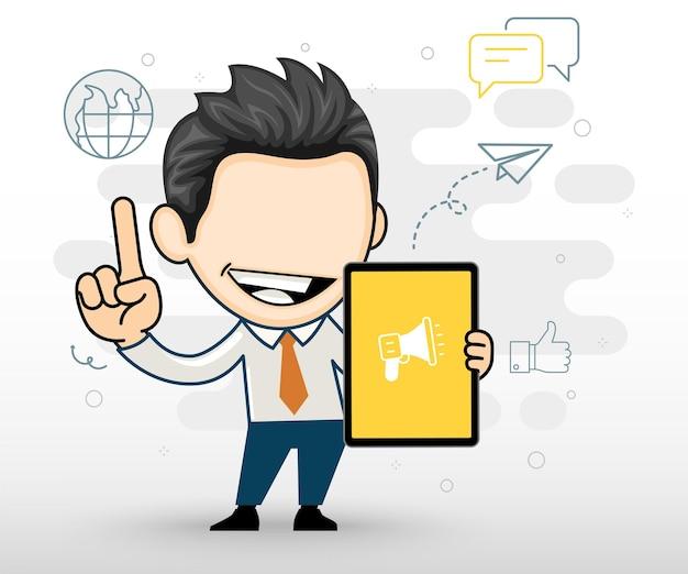 Gelukkig zakenman met een tablet bedrijfsconcept in karakter cartoon vector stijl