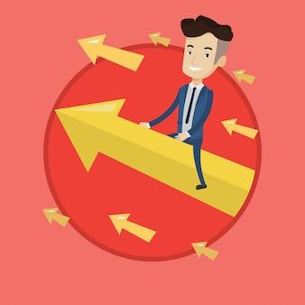 Gelukkig zakenman vliegen naar succes.