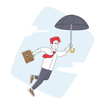 Gelukkig zakenman vliegen op paraplu met werkmap in de hand. inspiratie karakter. financiële bescherming, verzekering, bescherming tegen problemen