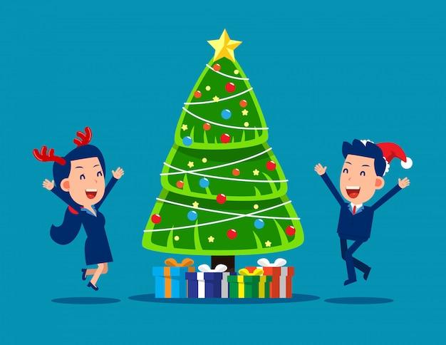 Gelukkig zakenmensen kerstfeest