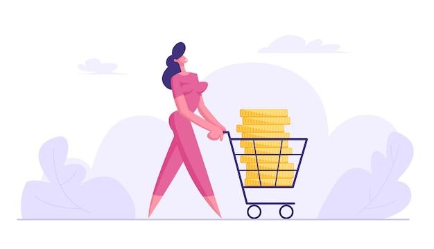 Gelukkig zakenvrouw push shopping trolley met grote gouden stapel vlakke afbeelding