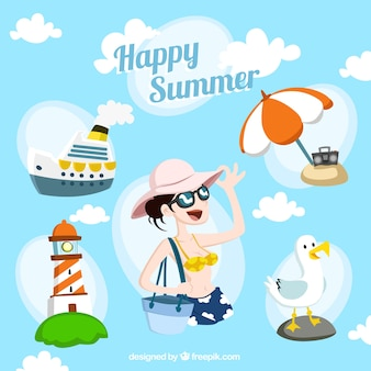 Gelukkig zomer illustratie