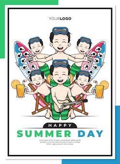 Gelukkig zomerdag poster sjabloon met schattige stripfiguur