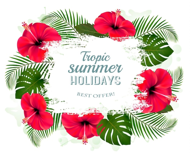 Gelukkig zomervakantie frame met rode bloemen en tropische bladeren.