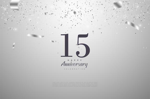 Gelukkige 15e verjaardag achtergrond met vallende zilveren papier illustraties.