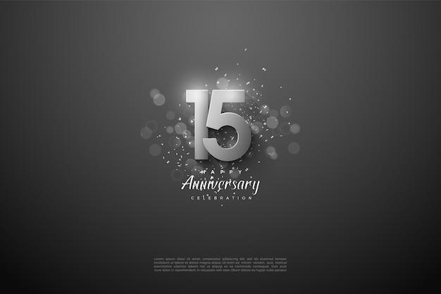 Gelukkige 15e verjaardag met overlappende zilveren cijfers.