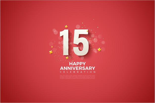 Gelukkige 15e verjaardag met witte cijfers op een bloedrode achtergrond.