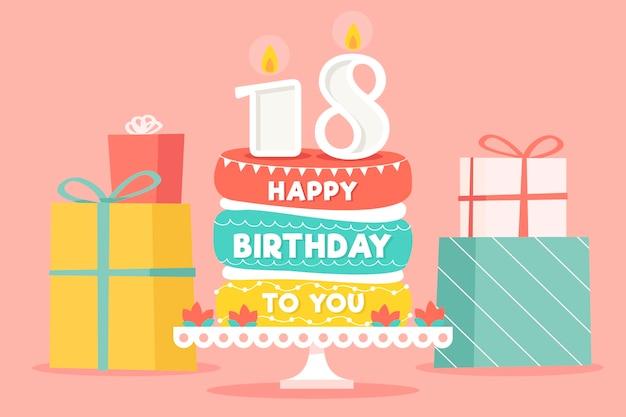 Gelukkige 18e verjaardag achtergrond met cake en geschenken