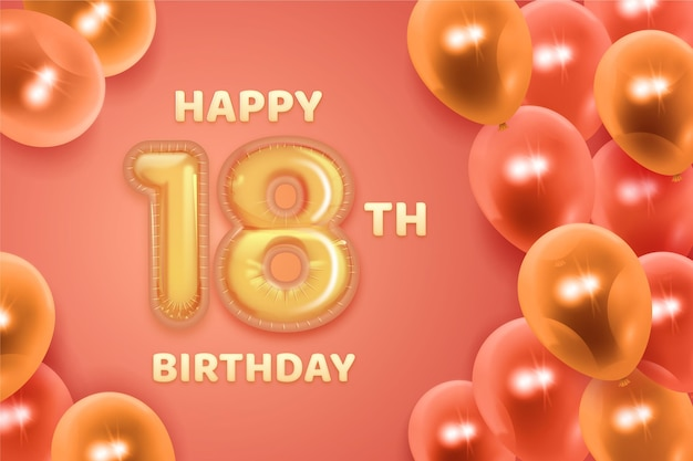 Gelukkige 18e verjaardag achtergrond met realistische ballonnen