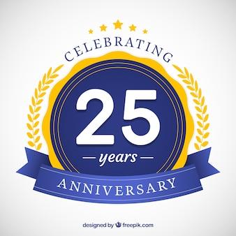 Gelukkige 25ste verjaardag achtergrond in vlakke stijl