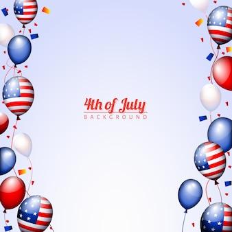 Gelukkige 4 juli amerikaanse patriottische ballonnen sjabloon van de independence day