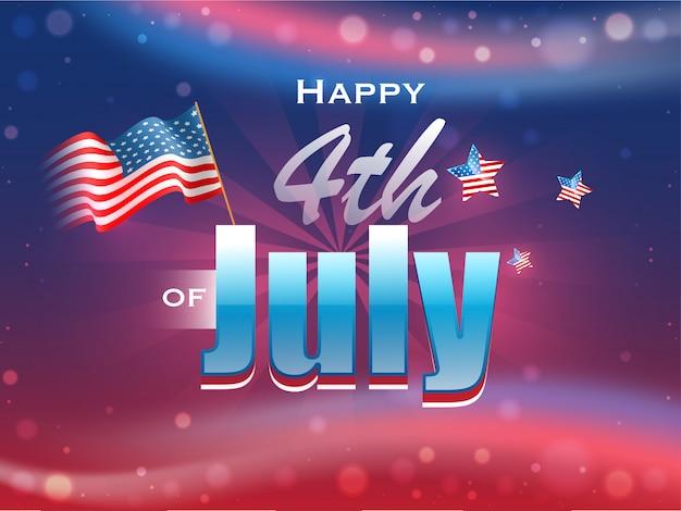 Gelukkige 4 van de tekst van juli met golvende amerikaanse vlag en sterren op glos