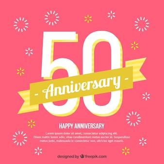 Gelukkige 50ste verjaardag achtergrond in vlakke stijl