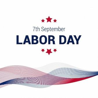 Gelukkige 7de dag van de arbeid september abstracte lijnen met amerikaanse vlag