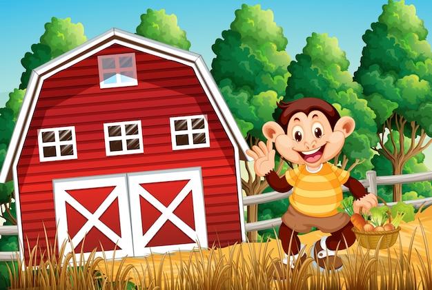 Gelukkige aap bij landbouwbedrijfhuis