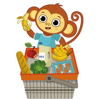 Gelukkige aap die plezier heeft bij het winkelende vectorillustratiekarakter