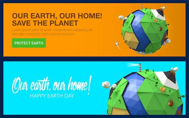 Gelukkige aarde dag banners