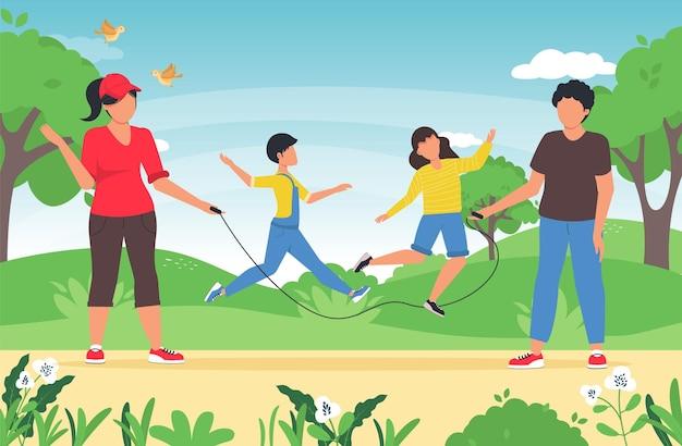 Gelukkige actieve kinderen springen over springtouw, vastgehouden door ouders