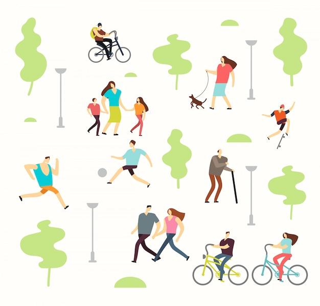 Gelukkige actieve mensen in verschillende levensstijlen in de lentepark met bomen. man en vrouw lopen buiten