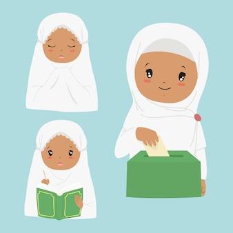 Gelukkige afrikaanse amerikaanse moslimmeisje die koran lezen, biddend en sadaqah of liefdadigheid geven