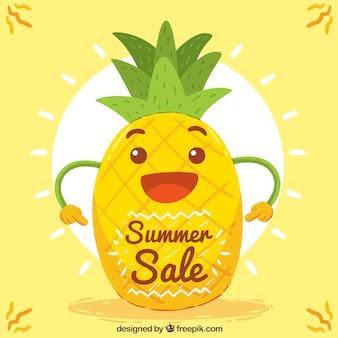 Gelukkige ananasachtergrond met zon