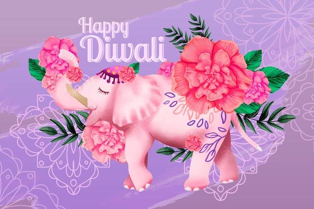 Gelukkige aquarel diwali bloemen olifant
