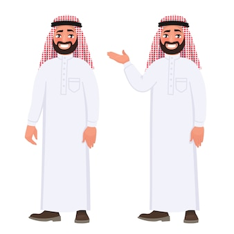 Gelukkige arabische mens in nationale kleding op witte achtergrond