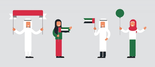 Gelukkige arabische mensen vieren de nationale feestdag van de verenigde arabische emiraten.