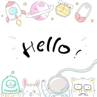 Gelukkige astronaut doodle