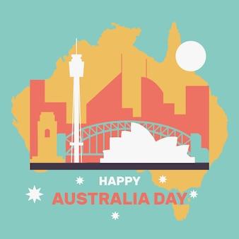 Gelukkige australië-dag met beroemde stad