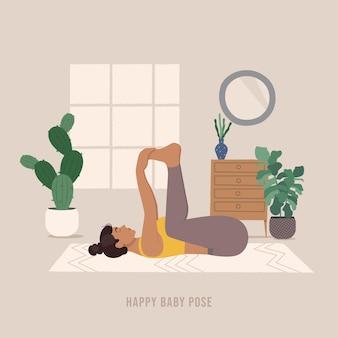 Gelukkige baby pose jonge vrouw die yoga pose beoefent
