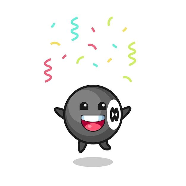 Gelukkige bal biljart mascotte springen voor felicitatie met kleur confetti
