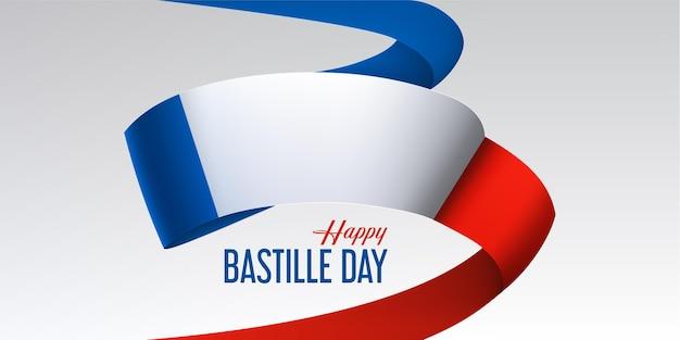 Gelukkige bastille-dag met vliegende nationale vlag van frankrijk